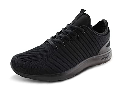 Jabasic Men Breathable Knit Running Shoes Athletic Outdoor Walking Sneakers  (blk blk 3a57083611e4