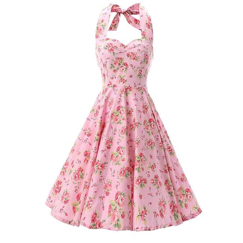 YILIA Women's 1950s Floral Vintage Halter Neck Pink Dress Swing Pinup Rockabilly Dress