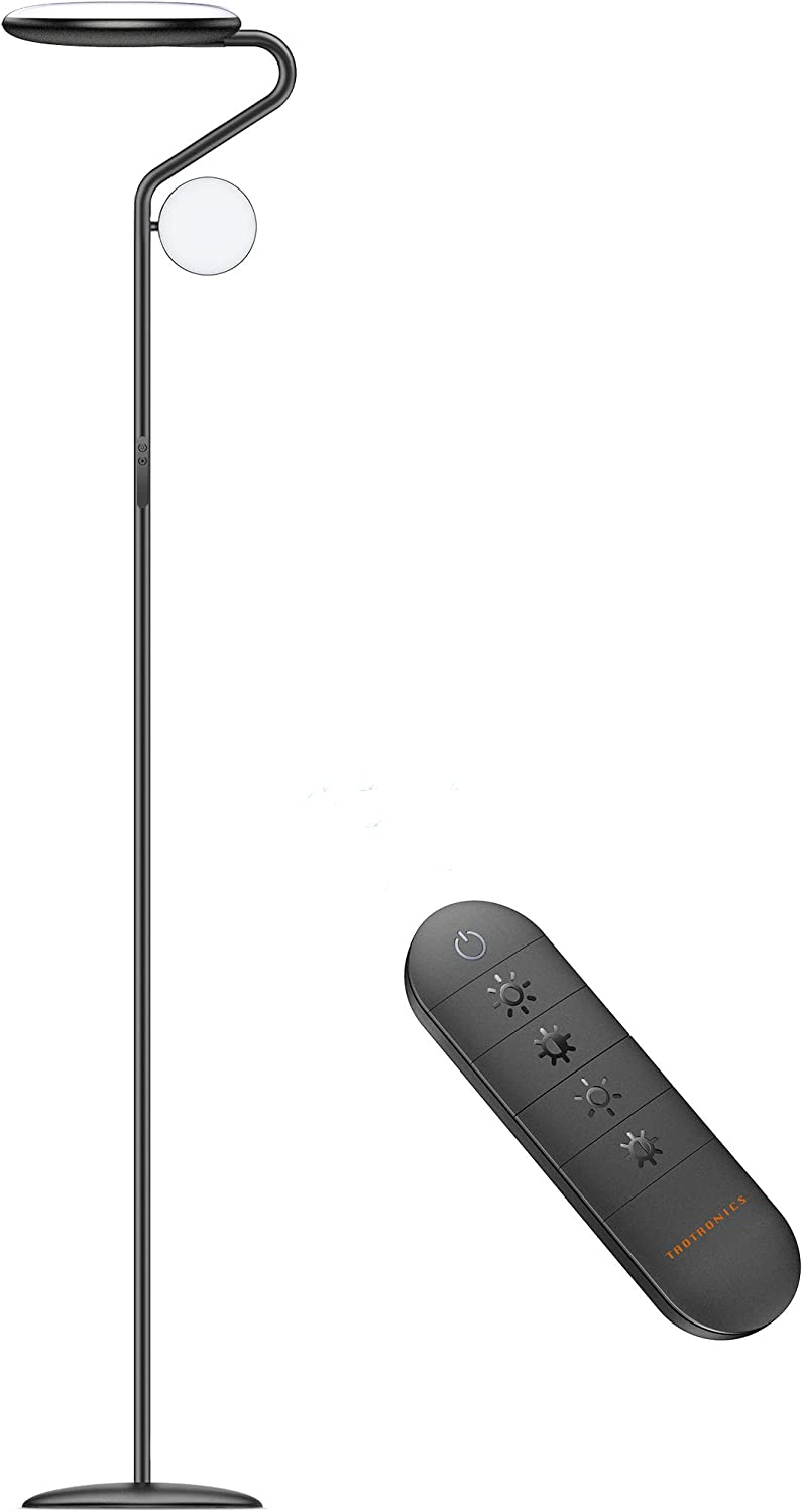 TaoTronics LED Floor Lamp TT-DL095, Metal Mother Daughter Floor Lamp with Reading Light, 36W 4 Brightness Levels & 4 Color Temperatures Adjustable with Remote & Touch Control for Living Room Bedroom