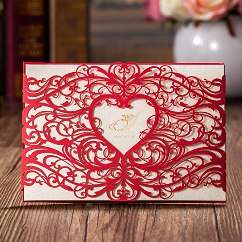 Wishmade 50pcs Red Lace Laser Cut Wedding Invitations Cards Kit With Elegant Heart Design for Marriage Engagement Birthday Bridal Shower Party Favors (set of 50pcs) CW5017
