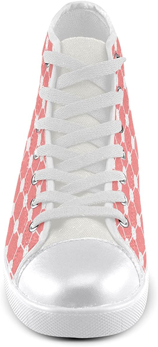 Model002 Artsadd Custom Coral Trellis Dots High Top Canvas Shoes for Men
