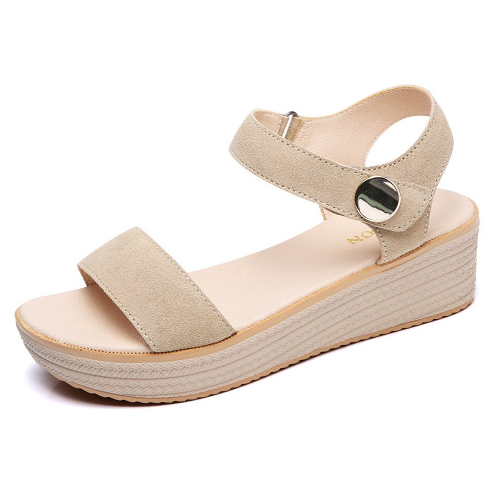 Womens Mid Heels Runde Kopf Keil Wasserdicht Plattform Sommer Mode Asakuchi Sandalen  UK/EU38|B