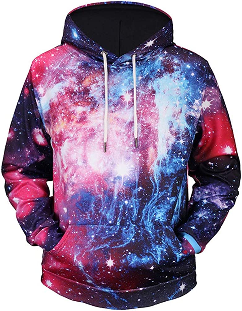Fashion 3D Starry Sky Pocket Unisex Hooded Sweatshirt Pullover Hoodie Tops