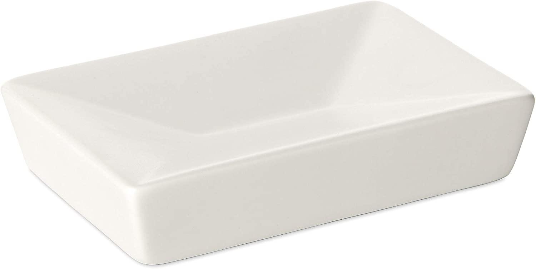 TATAY 6270000 - Colección Thai,  Jabonera rectangular de cerámica blanca, 12 x 7.8 x 2.8 cm
