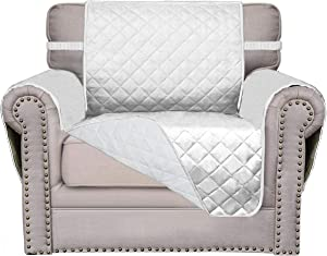 Easy-Going Sofa Slipcover Reversible Sofa Cover Furniture Protector Couch Cover Water Resistant Elastic Straps PetsKidsChildrenDogCat(Chair,White/White)