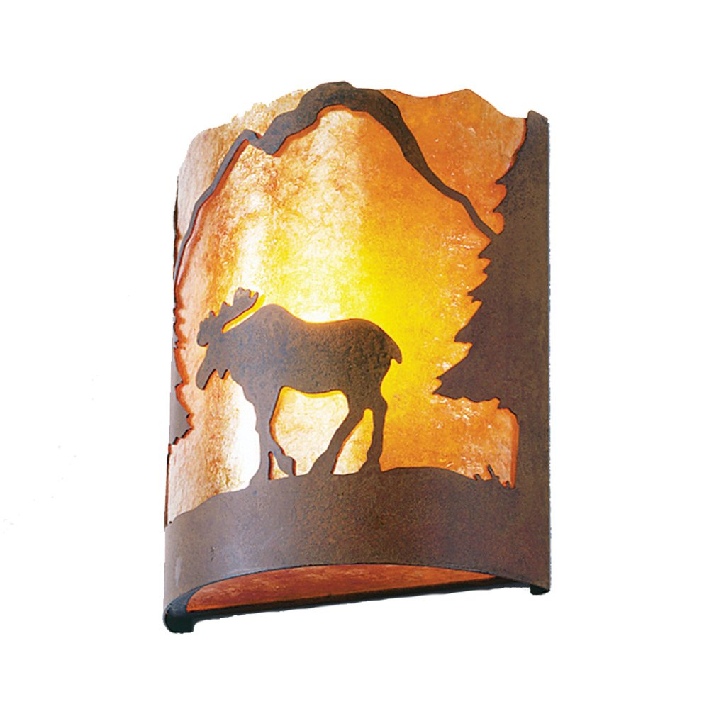 Steel Partners Lighting 2378-55-R MOOSE Timber Ridge Sconce with Amber Mica Lens, Rust Finish
