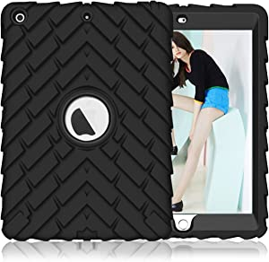 PIXIU New iPad Case 9.7 inch 2017 and 2018, Shockproof Heavy Duty Rugged Defender Full Body Protective case for iPad 5th Generation A1822 A1823,iPad 6th Generation a1954,a1893 Black