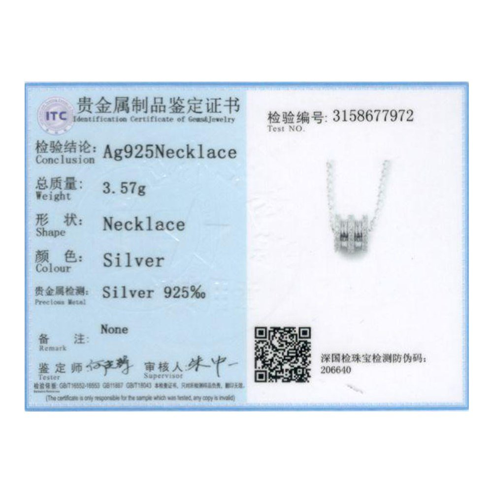 myazs8580 PTE S925 Pure Silver Necklace with Geometric Zircon Set Diamond Pendant Necklace