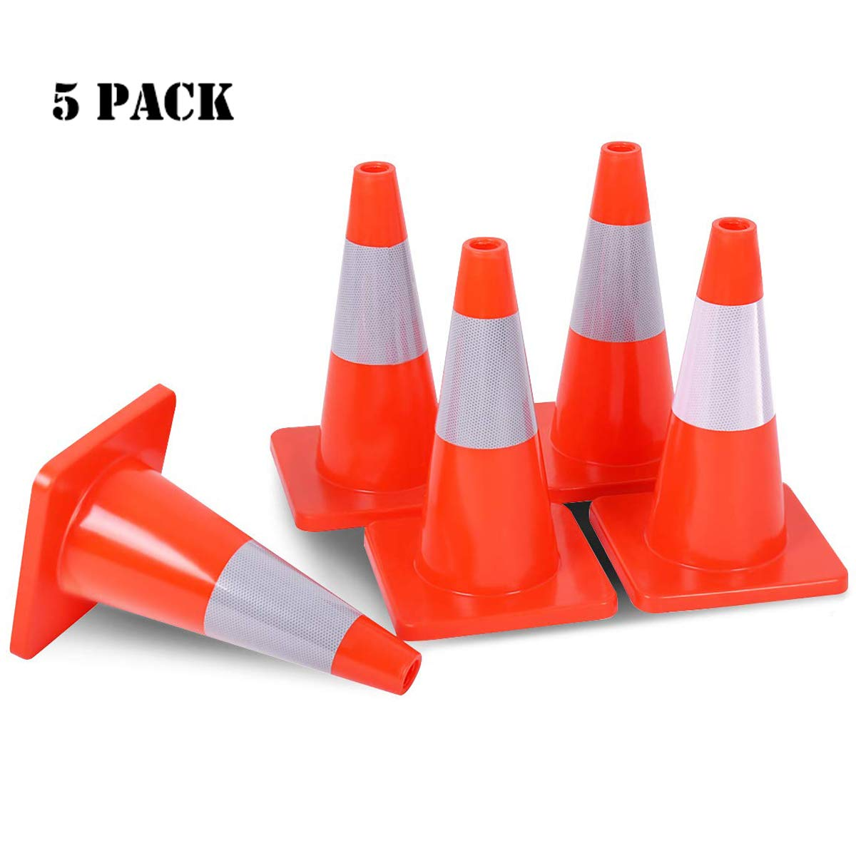 Goplus 5PCS Traffic Cones 18'' PVC Safety Road Parking Cones Driving Construction Cones Orange with 6'' Reflective Strips Collar