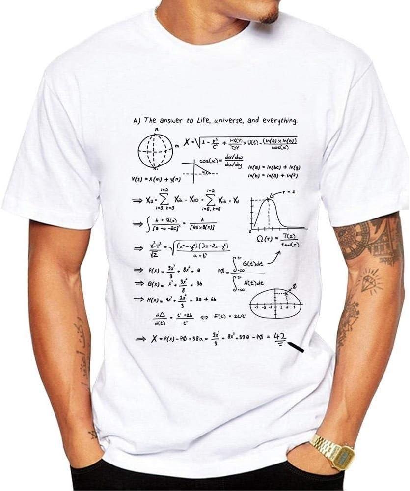 Trend Mens Short Sleeve Advanced Math Formula Print Short Sleeve Top Round Neck Summer Print Short Sleeve T-Shirt Short sleeve Color : White, Size : L