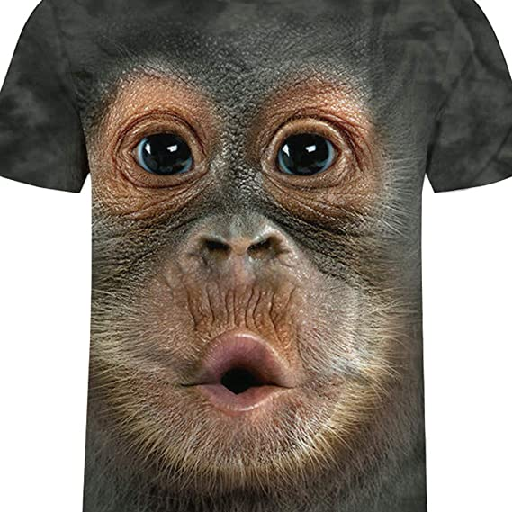 Usstore  Men Shirt 3D Realistic Orangutan Print Summer Spring Casual Funny O-Neck Short Sleeve T-Shirt Tops Daily Tee