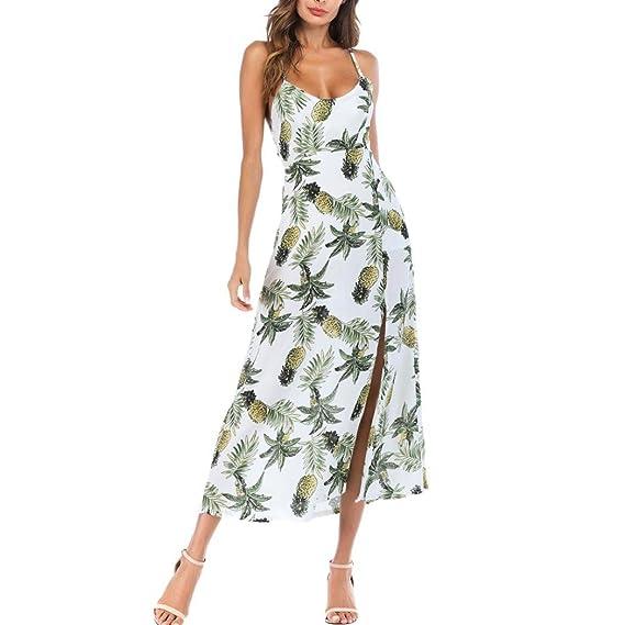 STRIR Vestido de Verano Largo Cuello Redondo Sin Mangas Estampado Floral Casual Vintage Vestido Largo Playa