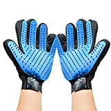 Neuftech 2 Pcs Professional Pet Gloves Dog Cat Pet Grooming Massage Glove Brush Bath Glove Deshedding Brush Hair Remover Mitt with Enhanced Five Finger Design- 1 Pair, Right & Left