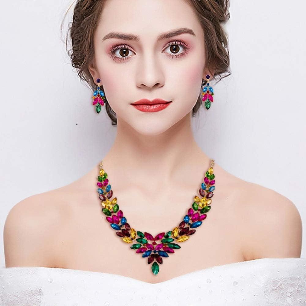 EVER FAITH Parure Gioielli Donna Cristallo Austriaco Matrimonio Sposa V Forma Florale Fiore Foglia Collana Orecchini Set Multicolore Oro-fondo
