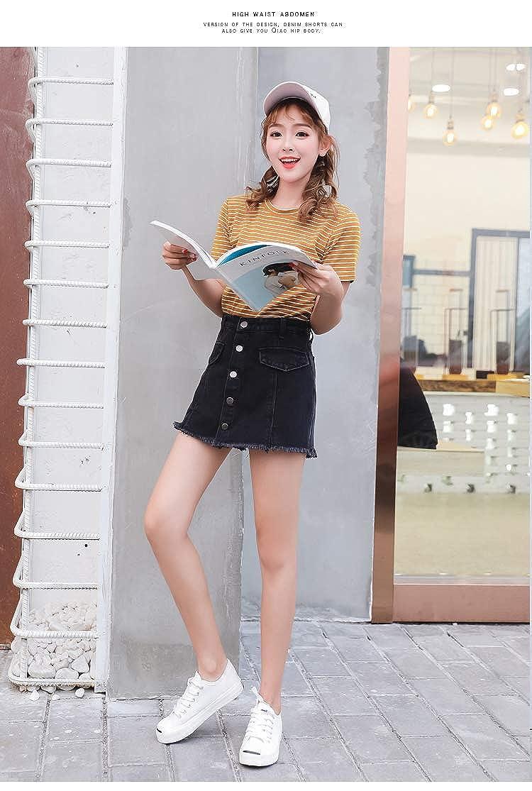 [BelleĆie] レディース デニムスカート ショートパンツ/フェイクスカートショートパンツ インパンツスカート (ST/No.27050) (ブラック, XL)