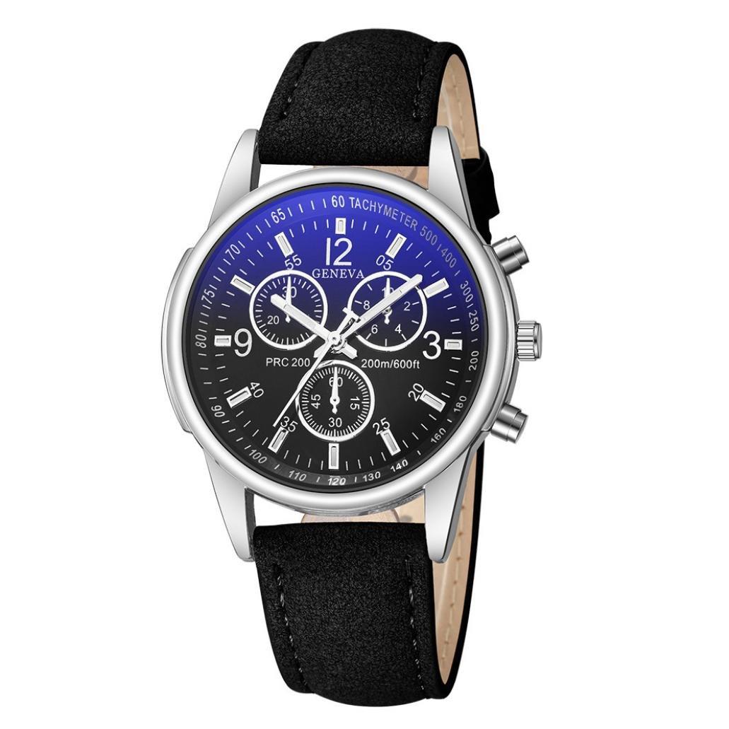 Longra☆ Relojes Análogos del Cuarzo del Vidrio Azul del Rayo del ...