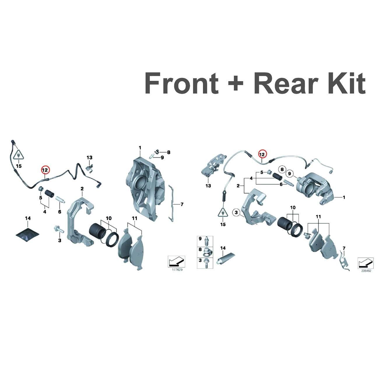 Vioji 2pcs Front Right Brake Pad Sensor Kit For Bmw 7 Electrical Wiring Diagram 760 Series 2011 2014 740li 2010 740i 2009 750li 750i