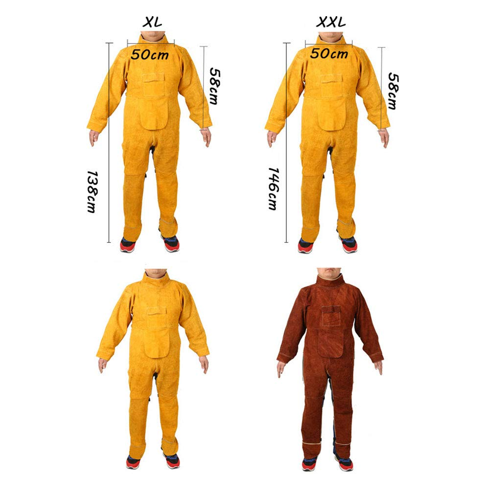 LAIABOR Welding bib Apron with Adjustment Split Leg Protective Foot Yellow Cowhide Leather Safety Apparel Flame wear Resistant Multi Purpose Workshop Long Suit for Welder,Brown,XXL by LAIABOR (Image #7)