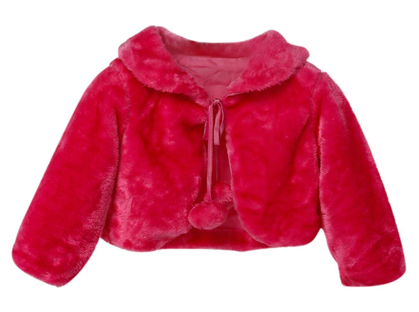 SK Studio Girl Faux Fur Shoulder Cape Wrap Jacket Rose Red