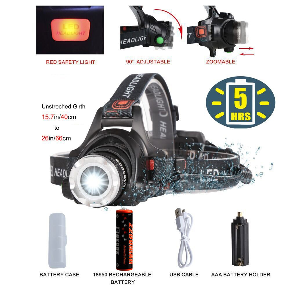 Super Bright Headlamp LED Tactical Flashlight,Rechargeable Li-ion Battery,COSOOS Zoomable,4-Mode Head Lamp,Waterproof Head Flash Light for Camping,Hiking,Reading,Fishing,Biking,Helmet,Run AAA Battery by COSOOS (Image #1)
