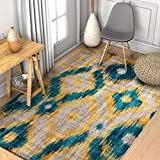 Tribal Rug Global Bohemian Ikat Blue & Yellow Vibrant Modern Tribal Pattern 3x5 (3'3