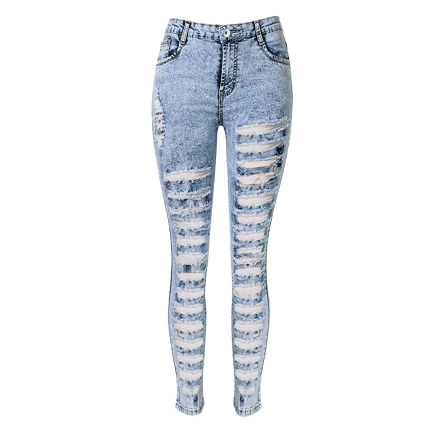 LIYT TOPSHOP Women's Fashion High Waist Slim Ripped Hole Jeans Pencil Pants