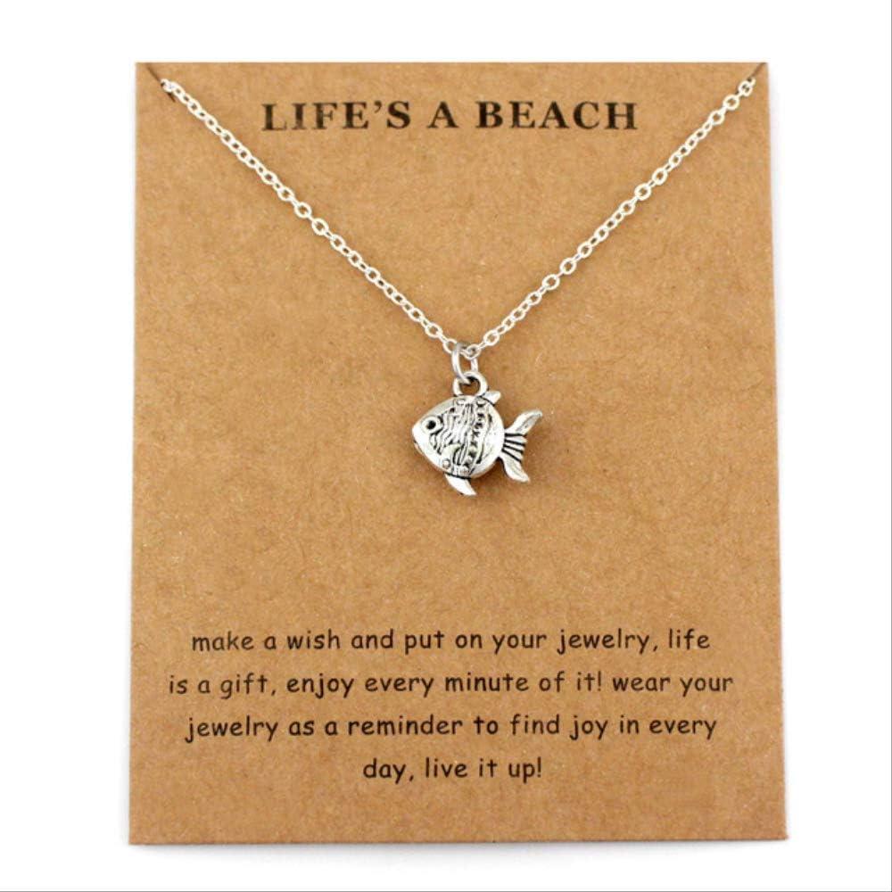 Haiyuan Bracelet Starfish Seashell sea Waves sea Turtle Fish Shark Pendants Necklaces Women Men Unisex Fashion Jewelry Beach Gift
