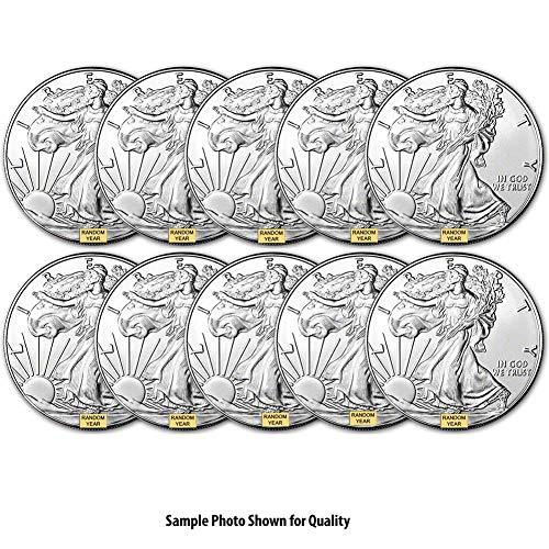 1986 - Present (Random Year) Lot of (10) 1-Ounce American Silver Eagle $1 .999 Fine Silver Brilliant Uncirculated US Mint ()