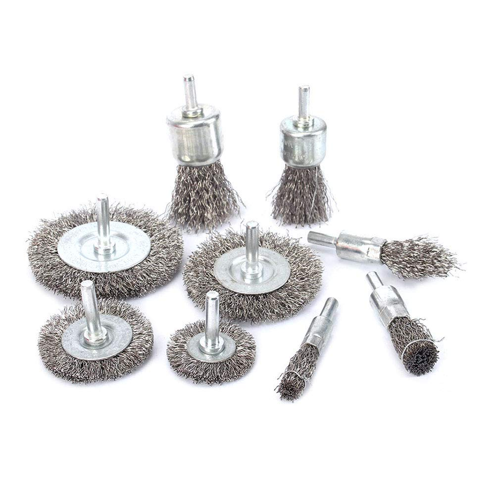 9Pcs Stainless Steel Wire Brushes Wheel kit for Drill with 1/4''shank 0.3mm for Removal of Rust/Corrosion/Paint by KUOFU
