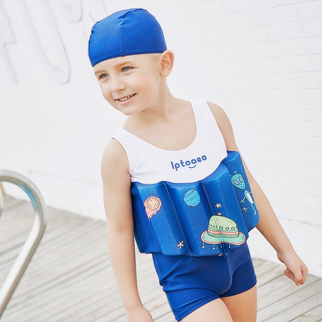 8fd31e990147 Bébé Garçons Flottant Maillot de Bain - Combinaison Flottante et Bonnets de Bain  pour Enfants Apprendre Agrandir l image