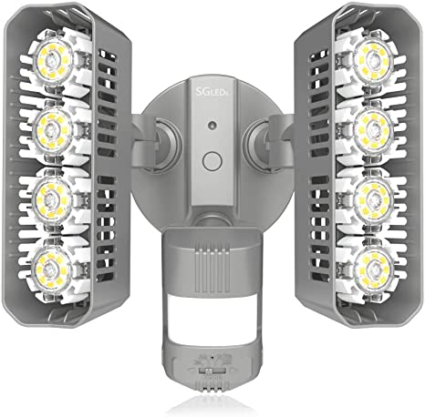 3600lm White Dusk to Dawn Waterproof Flood Light SANSI LED Security Motion Sensor Outdoor Lights 36W 250W Incandescent Equivalent 5000K Daylight ETL Listed