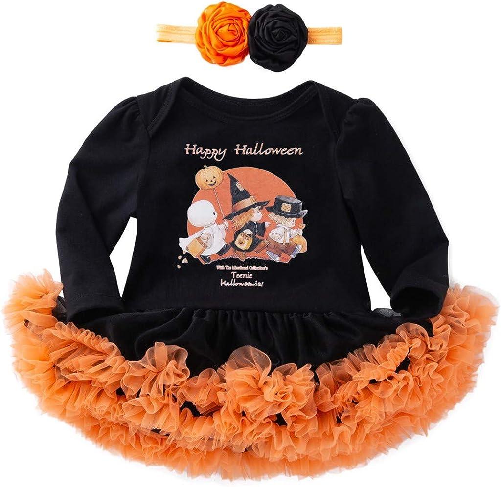 Cool980s Infant Girl's First Halloween Pumpkin Dress, Tulle Romper Dress Newborn Thanksgiving Dress Headbands Set Suits