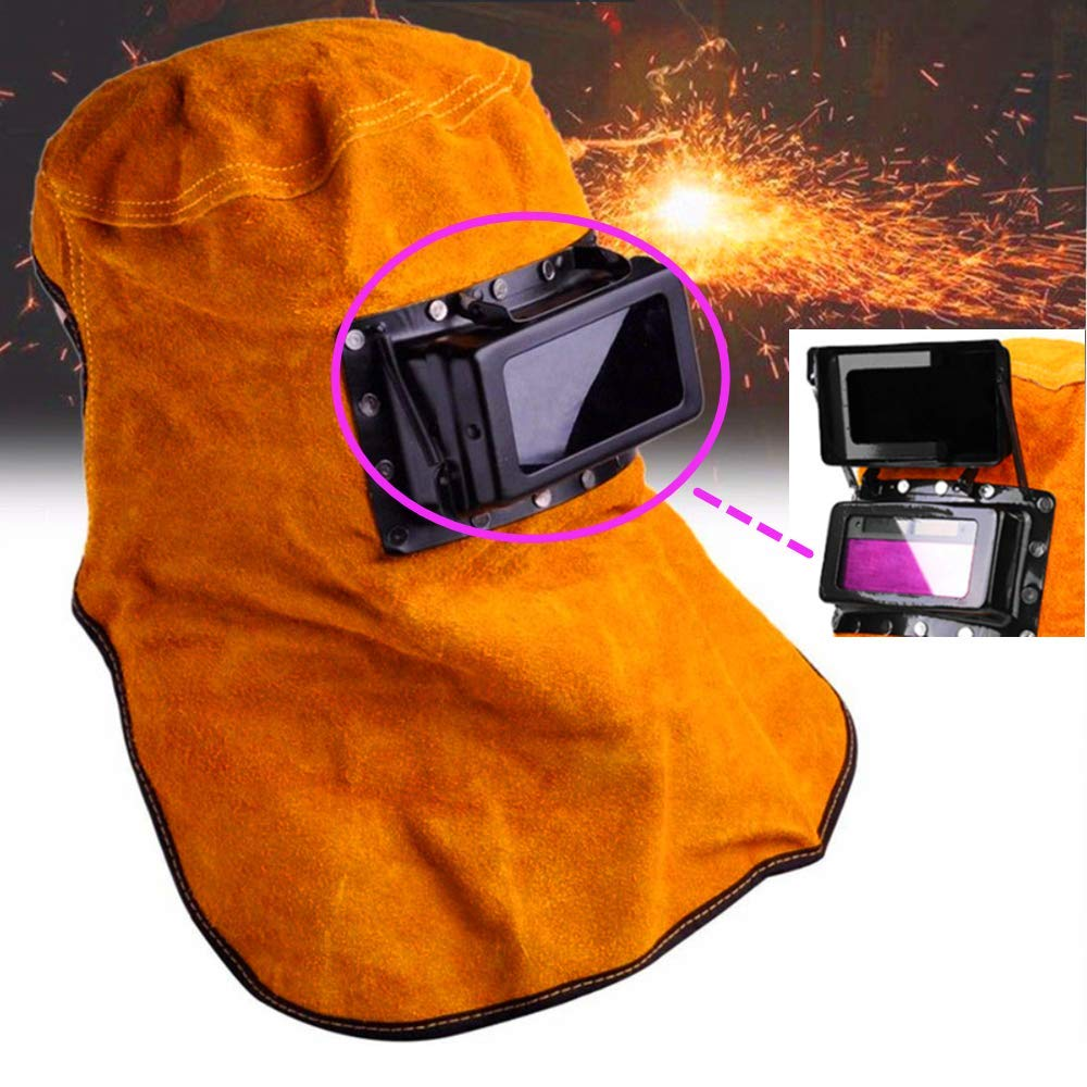 KUNHEWUHUA Leather Welding Helmet Mask Solar Auto Darkening Filter Lens Clamshell Welder Helmet by KUNHEWUHUA