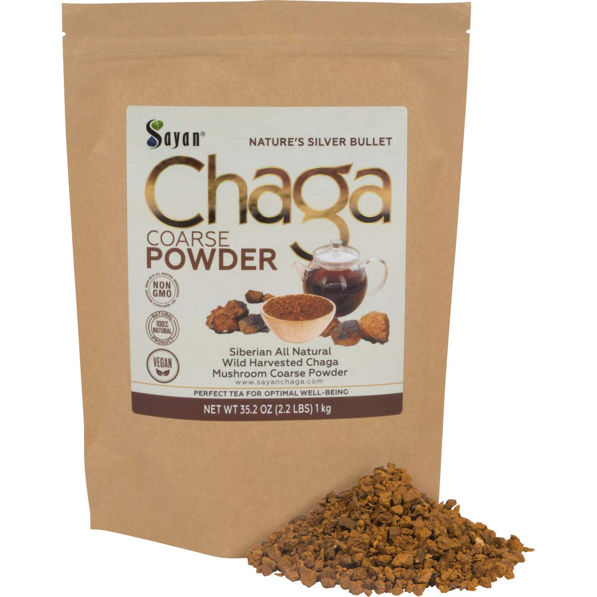 Sayan Siberian Raw Ground Chaga Powder 2.2 Lbs 1Kg – Wild Forest Mushroom Tea, Powerful Adaptogen Antioxidant Supplement, Support for Immune System, Digestive Health Helps Inflammation Reduction