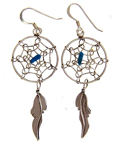Made in the USA byNavajo Artist Lorenzo Arviso Beautiful Sterling-silver Man Made synthetic Turquoise Dream Catcher dangle-earrings
