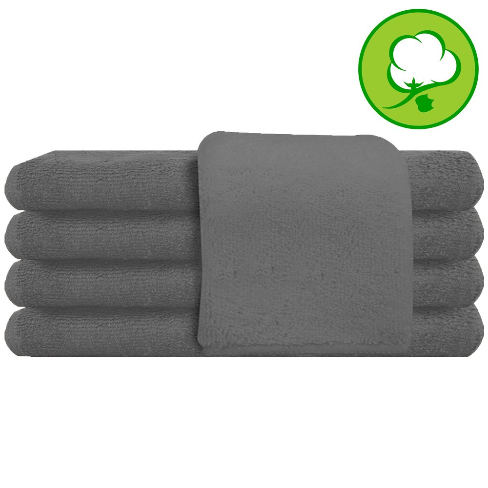 Gray Salon Towel 100% Cotton 16''x27''. Hand Towel - 6 DOZEN (72 Pack)