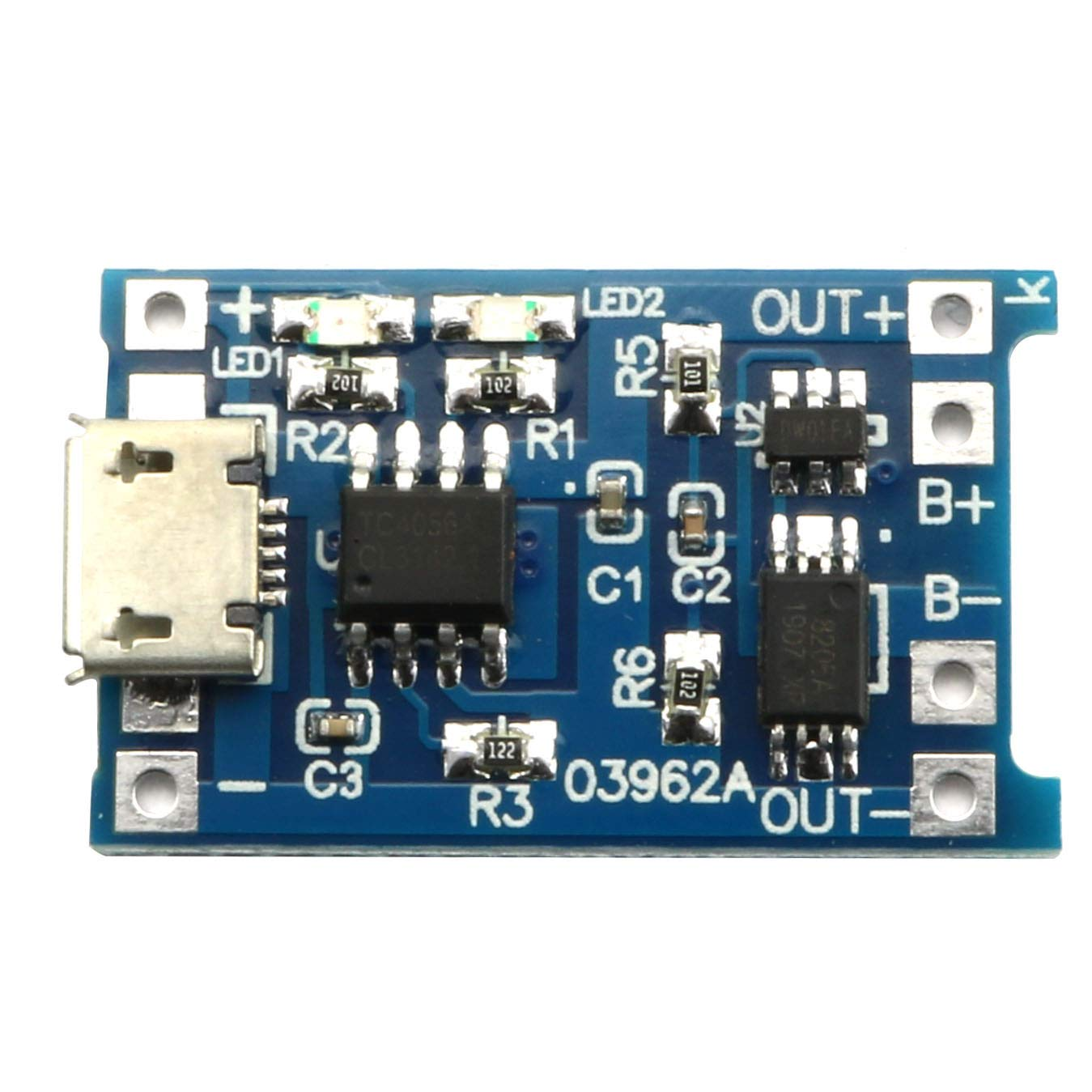 Magic/&shell 1PC 0.9V-5V to 5V 600mA USB Boost Step-up DC-DC Converter and 1PC 1A 18650 Lithium Battery Charging Board TP4056 with Protection Charger Module