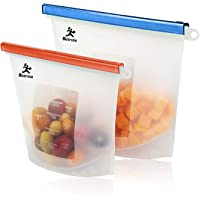 Reusable Silicone Food Preservation Bags | Eco Food Storage | Airtight Seal | Freeze, Steam, Heat, Microwave | Fruits, Vegetables, Meat, Milk 1500ml (1) x 1000ml (1) - Capacity Bag