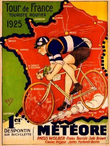 Tour De France Map - Bicycle Bike Race Tour de France 1925 Meteore French Map Travel Tourism 20