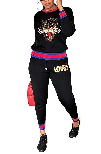 c89e683a26e Amazon.com  Women Casual Pullover Top Sweatpants 2 Piece Sport Jumpsuits  Outfits Set  Clothing