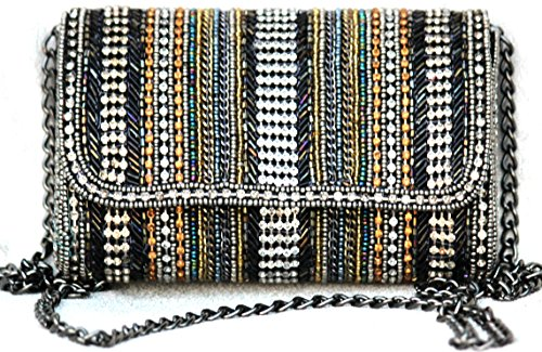 Art Deco Handbag - TRIBESMANGOLD-Evening Clutch, Womens multistone studded Clutch Purse, Elegant Bridal Prom Handbag