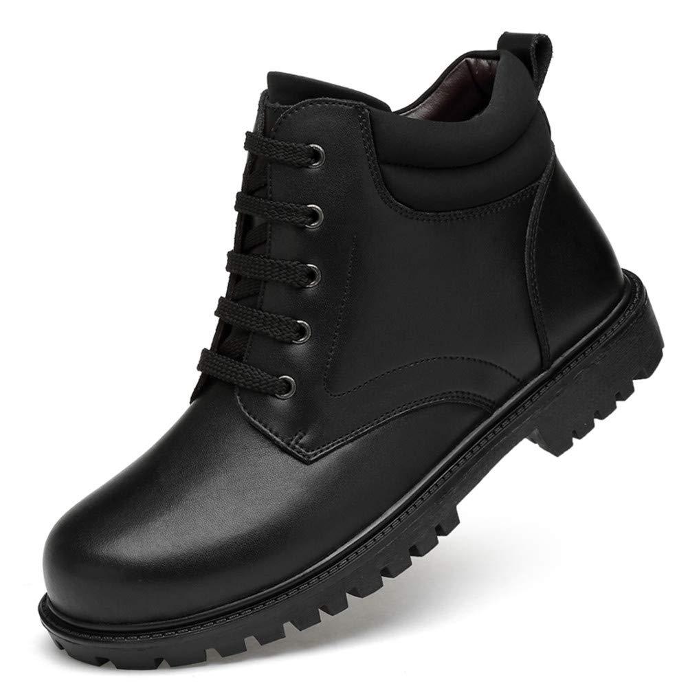 WOJIAO High Top Schuhe Hreen Schwarzer Winter Warm Schneeschuhe schnüren Sich Leder Oxfords Männer