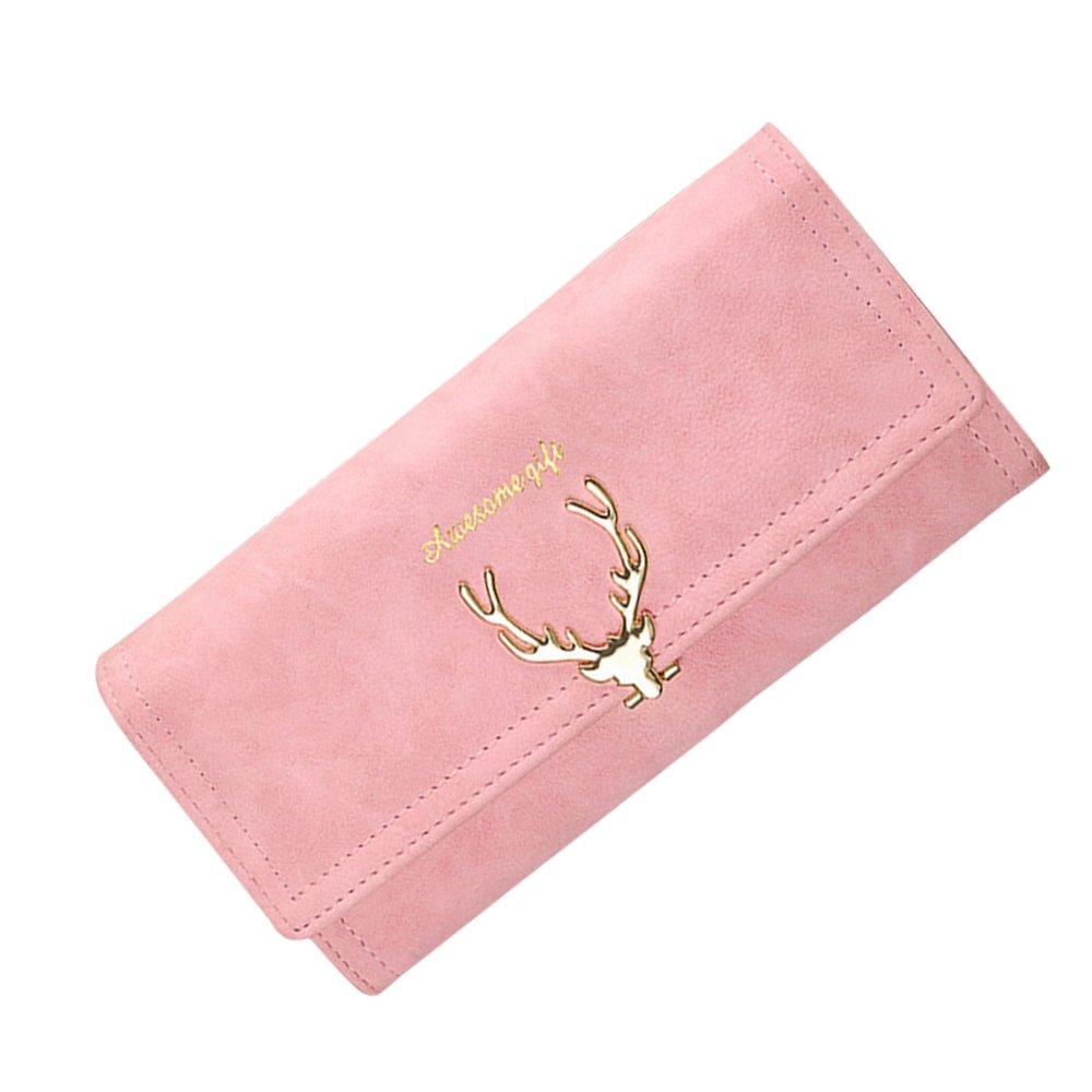Badiya Women Suede Leather Long Wallet Deer Pattern Clutch Bag Credit Card Holder WW05357BL
