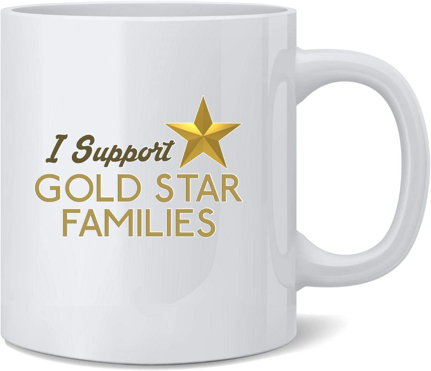 shenguang I Support Gold Star Families Military Army Veteran Ceramic Coffee Jarra Tea Cup Fun Novelty Gift 12 oz