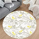 Nalahome Modern Flannel Microfiber Non-Slip Machine Washable Round Area Rug-Branch with Pastel Colored Leaves on Dotted Background Nature Art Home Yellow Gray White area rugs Home Decor-Round 36″