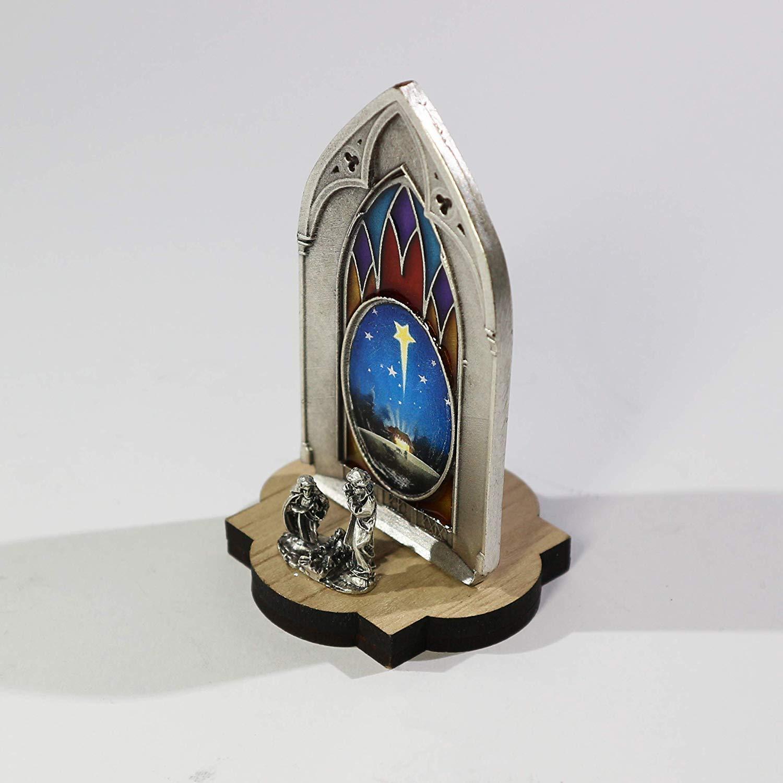 D/écoration de No/ël Cr/èche de no/ël Originale Complete Miniatures /à Collectionner Nativit/é Gothique en Argent plaqu/é et Base en Bois