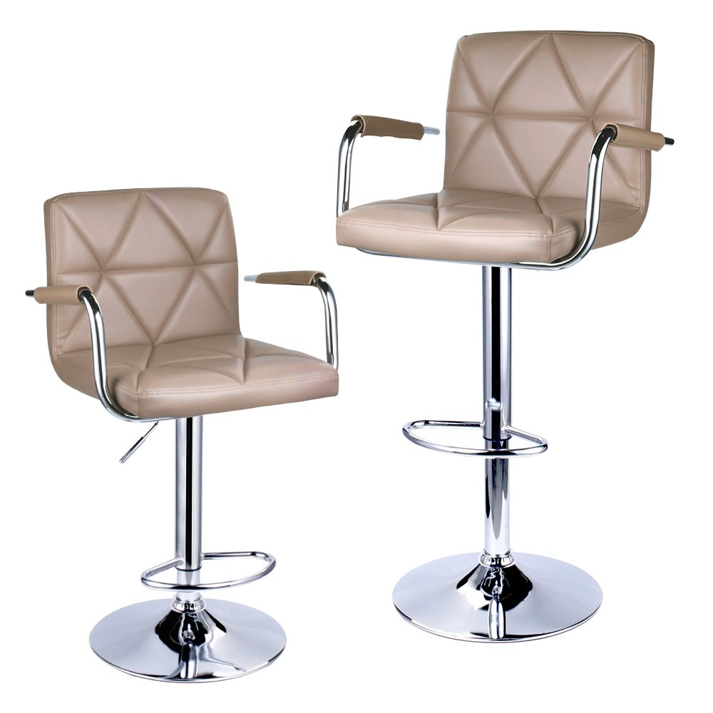 Leader Accessories Square Back Adjustable Bar Stools with armrest, Set of 2 (Khaki) by Leader Accessories