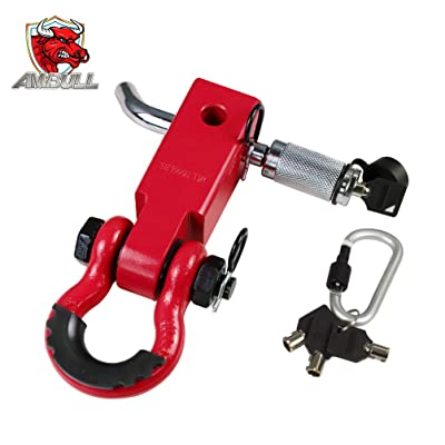 AMBULL Shackle Hitch Receiver 2 Inch, with 3/4 Inch D-Ring Shackle, Locking Pin, 2 Insurance Pins, Heavy Duty Solid Recovery Kit, Red: Automotive