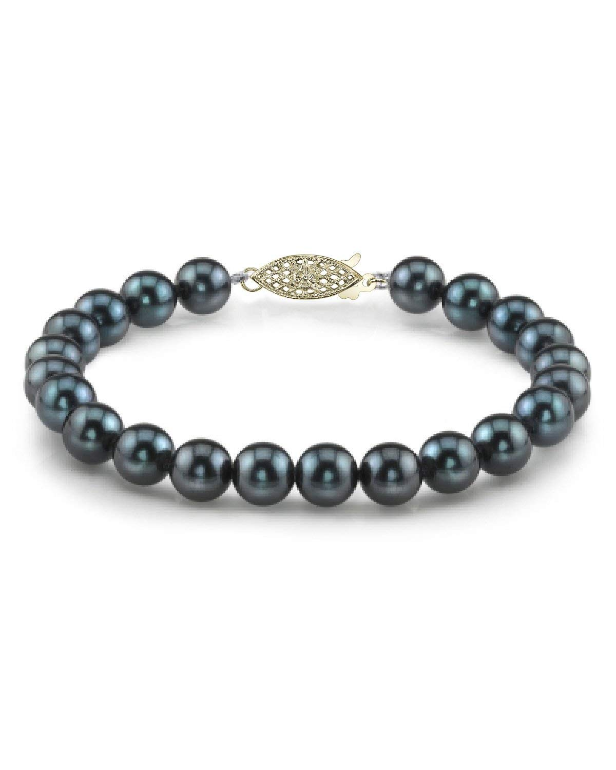 THE PEARL SOURCE 14K Gold 7-7.5mm AAA Quality Round Black Japanese Akoya Saltwater Cultured Pearl Bracelet for Women
