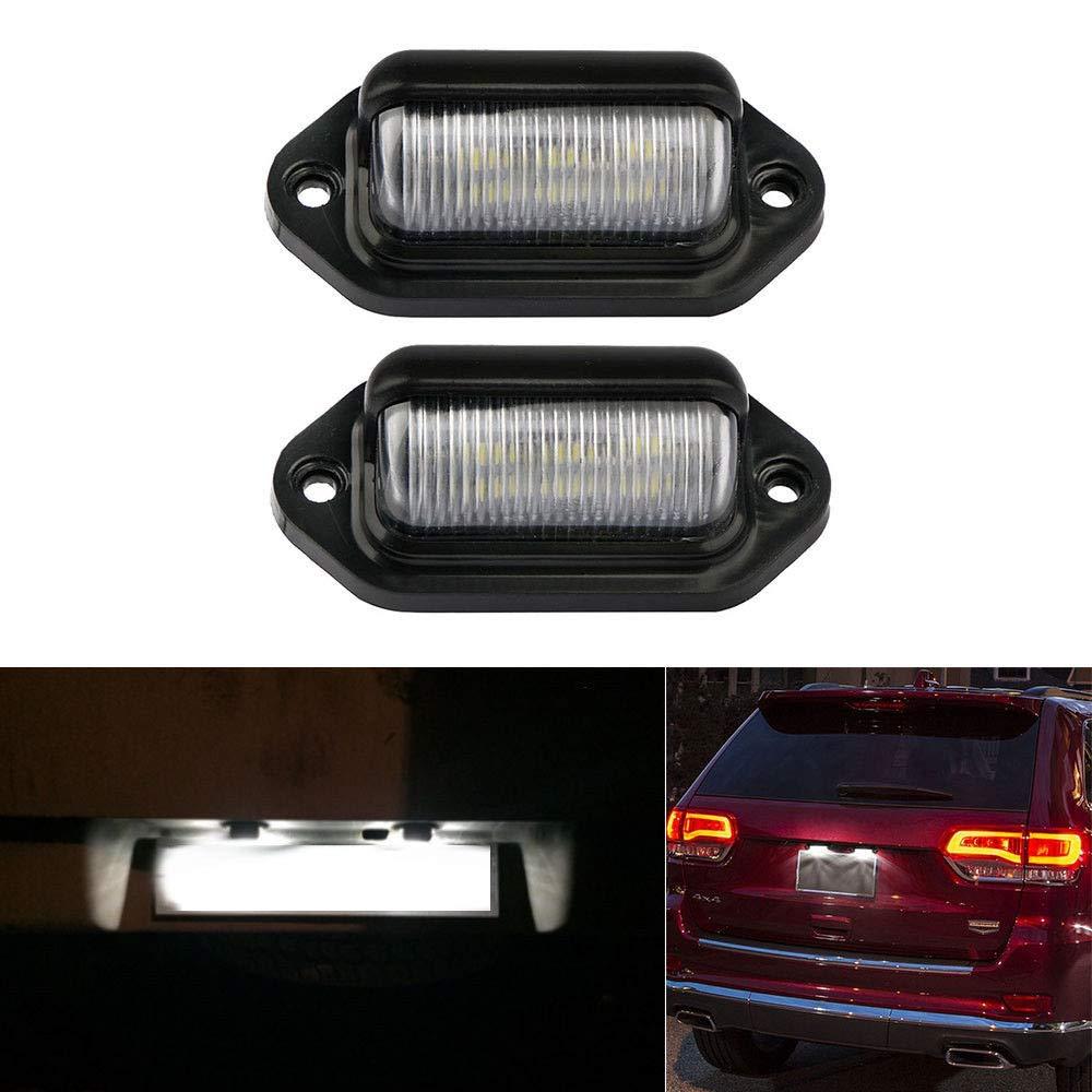 Qty 2X SODIAL Lampe D/étiquette De Plaque DImmatriculation 6 LED Support doreille De Camion RV Remorque Bateau Noir